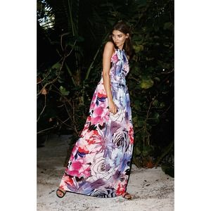 Eliza J Chiffon Colorful Floral Halter Maxi Dress